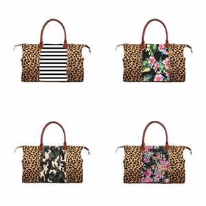 Leopard sac à main d'impression de camouflage sacs fourre-tout grande capacité Voyage avec PU Poignée de sport Yoga en plein air Totes stockage maternité Sacs RRA2602