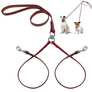 Новый Дизайн 2-х сторонняя Натуральная Кожа Муфта Собака Прогулка Поводок Dual No Tangle Lead Для 2 Собак, Хороших Для Маленьких Средних Пород Коричневый