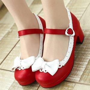PXELENA Plus Size 34-43 Lolita Mary Janes Women High Heels Sweet Bowknot Ruffles Dress Party Wedding Shoes Bridal Princess Y200702