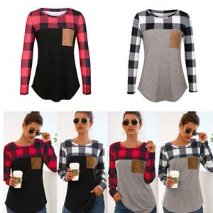 Les femmes Plaid Splicing T-shirt ras du cou à carreaux patchwork T-shirts Pull Top T-shirts avec poche Lady shirt printemps vêtements décontractés cadeau D21706