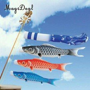 MagiDeal 5pcs / Lot смешанный цвет японский карп Ветроуказатель Streamer Рыба Флаг Kite Koinobori Party Decor 40см / 55см / 70см / 100см / 150см SH190920