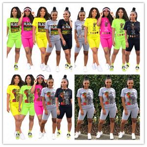 Women Tracksuit Black Lives Matter Print Designer Crew Neck 2 Pcs Clothing Set Outfits Sportswear Short Sleeve Tshirt Shorts Set New D61903