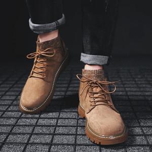 Bottes pour hommes à la mode, chaussettes, bouches, préservation de la chaleur hivernale, bottes extérieures résistantes au ski, salopettes de laçage, chaussures mode pour hommes