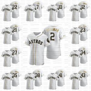 27 José Altuve 2020 camisola do basebol de Ouro Edição 2 Alex Bregman 34 Nolan Ryan 7 Craig Biggio 4 George Springer 38 Joe Smith Yuli Gurriel