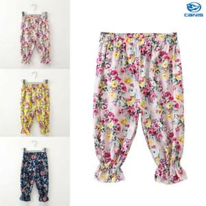 Kız bebekler Pantolon Yaz Çocuk Kız Pamuk Keten Çiçek Baskılı Casual Harem Pantolon Capris Çocuk Pantolon Çocuk Bloom