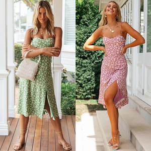 Kadınlar elbise Çiçek Casual Yaz Bölünmüş Boho Kız Bayanlar Kayma Elbise Kadın Chic 2020 İlkbahar New Fashion yazdır