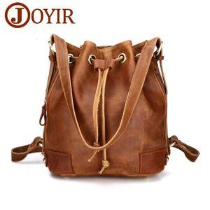 JOYIR Vintage genuine leather backpack woman interior zipper pocket bucket bag backpacks for teenage girls woman bag casual 3012
