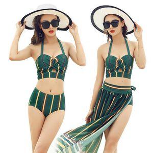 New Korean-style Beach two-pieces bikini cover-up Bathing Suit Swimsuit Sexy High-waisted Bikini Three-piece Set Slimming swimwear set