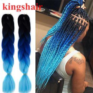 60 سنتيمتر أومبير الأزرق كانيكالون جامبو الضفائر الكروشيه تجديل الشعر الأسود شقراء مربع الاصطناعية جديلة 100 جرام / حزمة