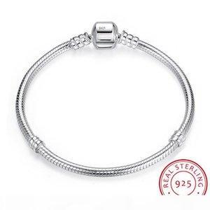 YHAMNI 100% original 925 16-23cm joyería de plata pulsera Charm larga sólida cadena de la serpiente regalo la pulsera del brazalete de las mujeres LB005