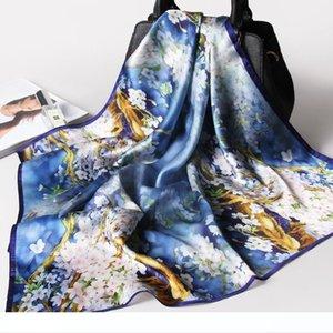 100% Pure Silk Praça lenço lenço Mulheres Flor Imprimir pequeno real Silk Scarf Bandana das senhoras Natural Silk Lenço Ke