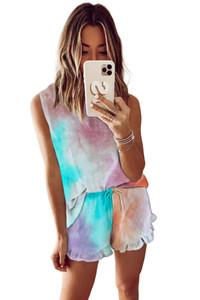 Luz Sqtrimmer Para Pijama Tiedye para a menina Pigiama Da Donna Por Girocollo Tye Dye Curto roxo Tie Dye Vestuário Customize