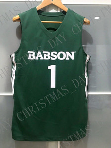 Pas cher sur mesure Babson CASTORS # 1 NCAA BASKET-BALL VERT JERSEY Cousu Personnalisez l'un nom de nombre HOMMES FEMMES JEUNES XS-5XL
