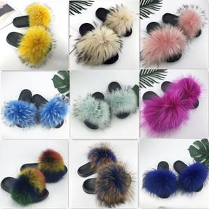 Фокс женские тапочки для волос зима теплые пушистые тапочки дамы плюшевые мода крытый твердый большой размер оптом 36-45