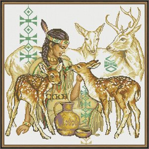Everlasting love A maiden feeding a deer Chinese 5d diamond painting full square christmas decorations for home wedding gift