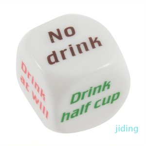 Venta al por mayor-Partido Drink Decider Dice Games Pub Bar Fun Die Toy Regalo KTV Bar juego Dados de bebida 2.5cm 100pcs