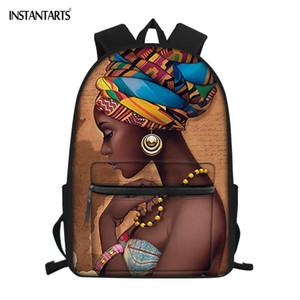 INSTANTARTS Schoolbags para Adolescentes Moda Cultura Africana Mulheres Negras Design College Girls Sacos de Livro Mochila Saco de Escola