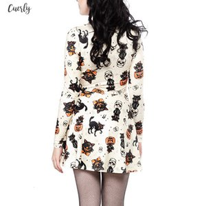 Women Halloween Vampire Skull Print Casual Long Sleeve Crew Neck Swing Mini Dress Halloween Party Vestidos Sj393v