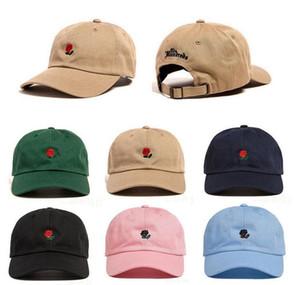Роза Вышитая Шляпа Бейсболка Мода 2020 Уникальный Регулируемый Вышитые Роза Повседневная Шляпы На Открытом Воздухе Мужчины Женщины Любовник Шапки T311
