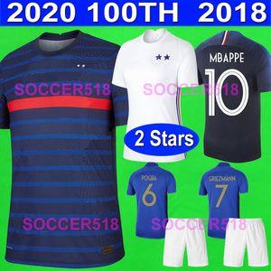 France Fransa 2020 euro futbol forması MBAPPE GRIEZMANN 100 yıl yıldönümü baskı canlı mavi futbol gömlek 2018 şampiyonlar 2 yıldız formaları THAUVIN VARANE UMTITI POGBA DEMBELE