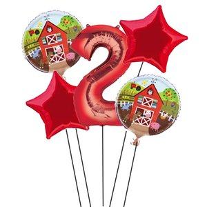 5pcs Farm Theme Balloon 32 inch Number Balloon 1st Birthday Party Decor Globos Toys For Kids farm party supplies