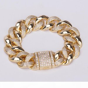 Mens Gold Bracelets Luxury Designer Iced Out Bracelet Hip Hop Jewelry Bling Diamond Cuban Link Chain Charm Bangle Fashion Pandora Style New