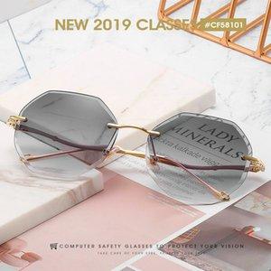 Sin marco Sunglasse YUMOMO moda de gran tamaño gafas de sol sin montura plaza de mujer de marca Diseñador plana vidrios de sol grandes Mujer de una pieza PaK7Z bwkf