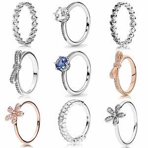Оригинал Classics Ажурные Linked Love Heart Clear игристые короны кольца с кристаллом 925 стерлингового серебра Кольцо ювелирные изделия
