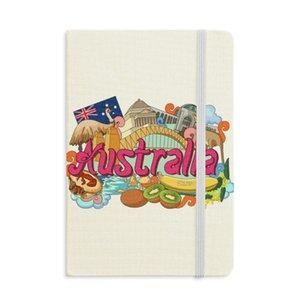 Kangaroo Harbour Bridge Australia Graffiti Notebook Fabric Hard Cover Classic Journal Diary A5
