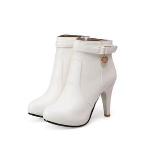2019 botines de mujer tacón alto botines cortos calidad PU cuero botines de terciopelo otoño invierno zapatos zapatos de boda