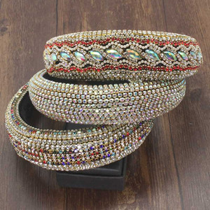 Diamantes de imitación de perlas sedimenten industria pesada accesorios barroco brillante grande acolchado Las vendas AB mujeres Cristal con banda de sujeción