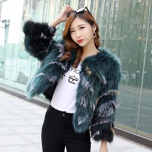 Donne 2019 Inverno reale naturale del cane di Raccoon Fur Coats femminile di alta qualità 100% genuino cappotti di pelliccia Giacche a righe Outwear V402