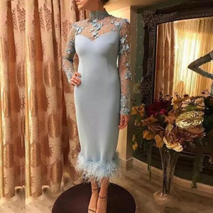 Sexy Sheath Prom Dresses High Neck Lace Appliques Long Sleeves Formal Evening Dress Mothers Feather Cocktail Party Gowns