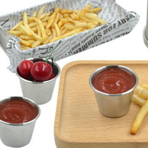 2 Size Stainless Steel Sauce Cups Potato Chips Tomato Paste Cup Restaurant Salad Sauce Dipping Bowls ZZA1953