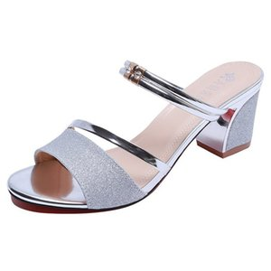 6CM Block Heel Women Shoes Silver Shoes Woman Sandals Black Gold Sandals Ankle Strap Concise Novelty Heels Slippers Shoes With Middle Heel