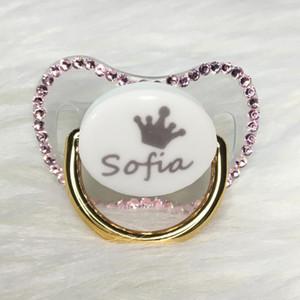 MIYOCAR personalizzato qualsiasi nome può fare l'oro bling strass ciuccio rosa fittizio BPA libero fittizio bling rosa baby shower PP-P