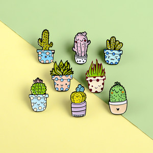 Cartoon Cactus Brooch Cute Mini Plant Pot Enamel Women Denim Jackets Lapel Pins Hat Badges Kid Jewelry Christmas Gift
