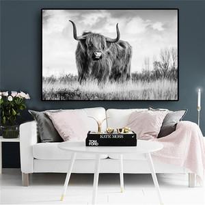 Черно-белая Свобода Хайленд корова животных холст картины плакаты и принты скандинавский Як стены искусства картина для гостиной
