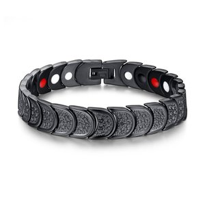 Négatif Ion aimant noir Bracelet en acier inoxydable de pierres précieuses Bracelet Black Watch Bracelet de Mode Bijoux pour Hommes Hommes J019