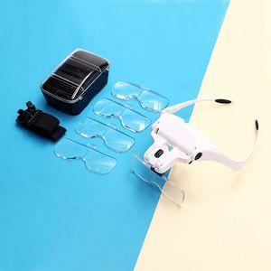 Occhiali con luci a LED per riparazione orologi lente d'ingrandimento lente d'ingrandimento montata su una lente multi-funzionale montata su una lente a lente d'ingrandimento