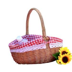Basket handicraft Wickerwork rattan picnic decoration home environmental protection health outdoor outdoor fruit vegetable basket gift