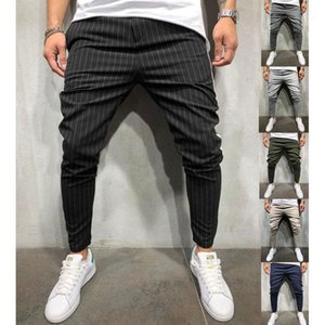 Striped Panelled Pancil Pants Fit Slim Trousers Plus Size Male Clothing 2020 Mens Luxury Designer Pants Casual