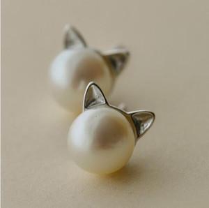 Оптовая продажа серебряных ювелирных изделий s925 стерлингового серебра серьги кошка серьги жемчужные earrings196