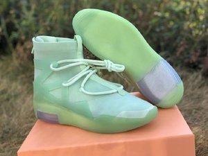 Mejor calidad miedo de Dios 1 esmerilado Spruce atlético de los zapatos de diseño Comfort verde menta FOG1 Moda Chaussures Formadores nave con la caja