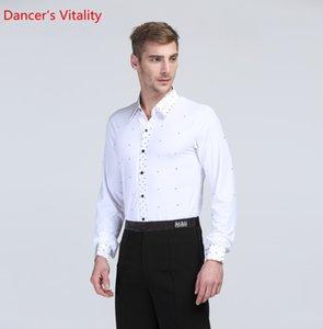 Para homens Fatos para rack Ballroom dança camisetas Collar / abertura de cama colarinho acolchoado Homem Trajes Latin American Dance Top