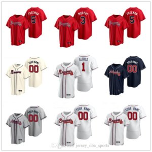 2020 Freddie Freeman Jersey Ronald Acuna Jr. Dale Murphy Ozzie Albies Chipper Jones Cole Hamels Red Navy Baseball Jerseys Custom Stitched