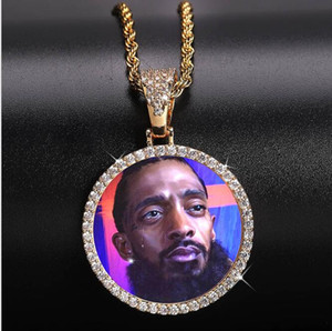 14K выполненный на заказ Photo Круглый медальоны ожерелье 3мм Twist цепи Серебро Золото Цвет Циркон Мужчины Hiphop ювелирных изделий GB1515