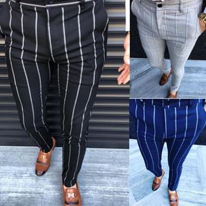 Formal Pants Negócios vestido listrado dos homens Slim Fit Calças casuais