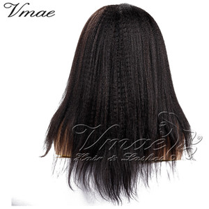 몽골어 인도 킨키 직선 4A (b) (c) 천연 블랙 (150) 밀도 표피 정렬 버진 인간의 머리카락 전체 레이스 가발