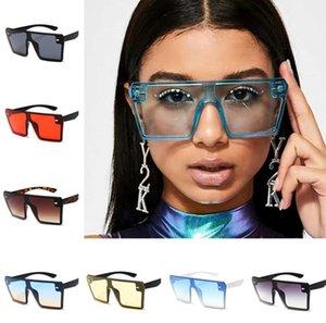 Moda mulheres óculos de sol grande quadro quadrado retro vintage óculos de sol colorido siamesed google óculos de sol ao ar livre praia sol óculos 2020 presentes
